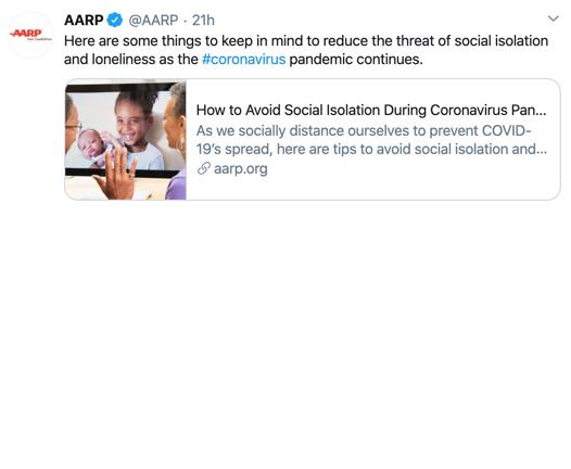 AARP COVID-19 Tweet