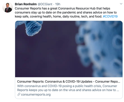 Brian Ronholm COVID-19 Tweet