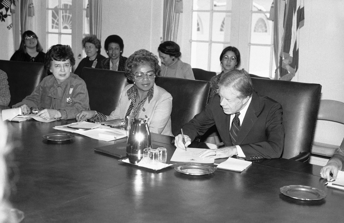 President Jimmy Carter signs a Presidential Proclamation designating the week of March 8, 1980, as the first National Women's History Week