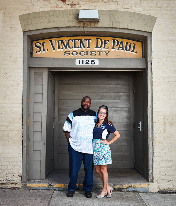 Lydia Bailey, clinical pharmacist at St. Vincent de Paul Charitable Pharmacy with patient Eric